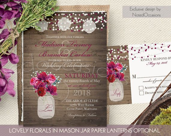 Rustic Wedding Invitation Set Mason Jar Cranberry Purple Floral Wedding Printable Invite String Light Wood Country Wedding Suite DIY digital by NotedOccasions on Etsy