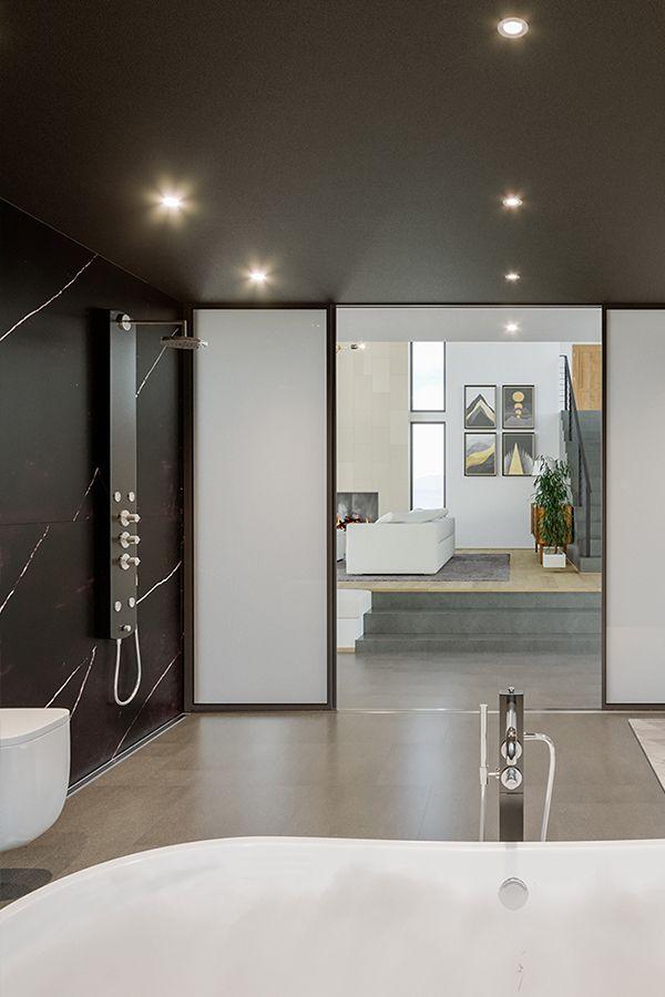 Introducing Calacatta Poetic Black A Beautiful Black Stone With Thin White Veins Throughout The Slab Calac Modern Bathroom Design Calacatta Luxury Bathroom Gorgeous black stone small bathroom