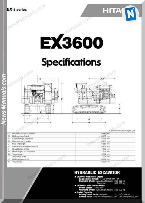Hitachi Ex3600 Hydraulic Excavator Specifications | Hydraulic Manual