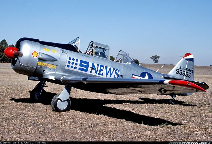 CCF Harvard Mk4: Photographed at the Kyabram Air Show displaying it's Channel 9 News Logo. This Havard was an ex Italian Air Force aircraft Ex-Reg MM53833.