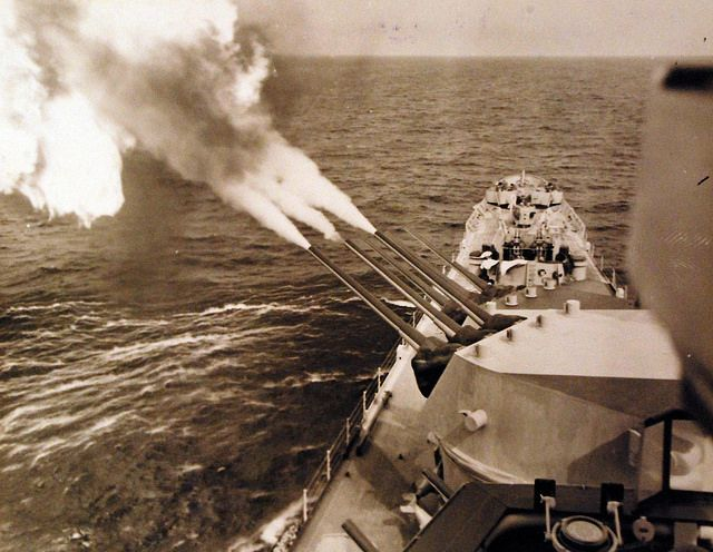 Operation Dragoon, August 1944. Battle as seen from USS Quincy (CA 71), received April 30, 1946. Photographed by crew of USS Quincy (CA 71). Official U.S. Navy photograph, now in the collections of the National Archives.