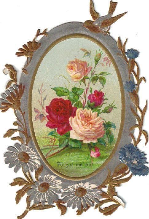 Victorian Paper Scrap Gold & Silver Dresden Die Cut c1880