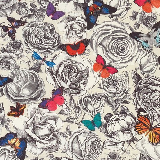 Butterfly Garden Outdoor Fabric An eye-catching fabric with vibrant multicoloured butterflies and finely detailed monochrome roses on an ecru ground.