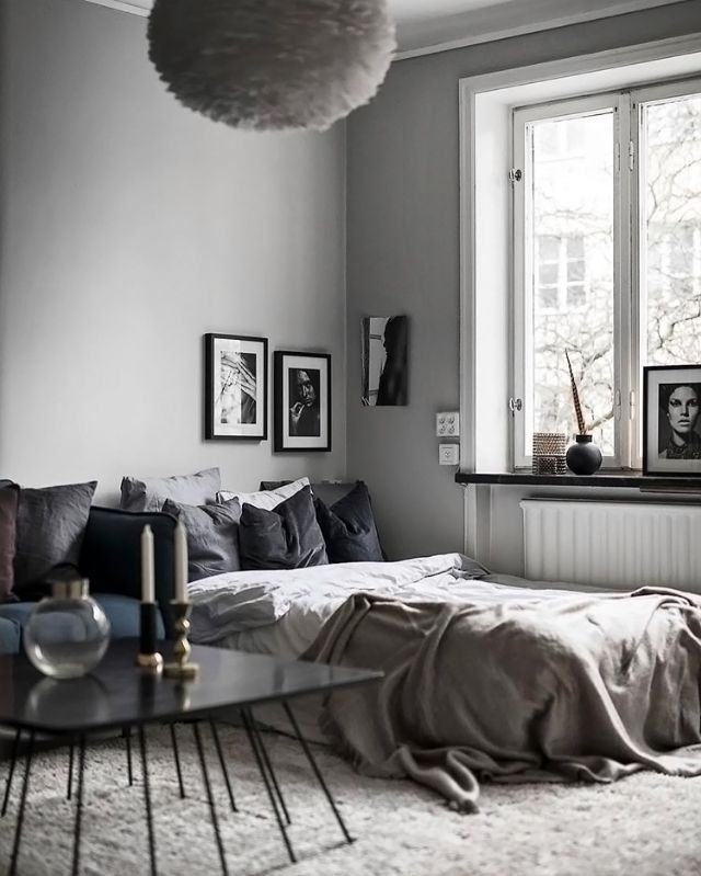 A grey bedroom via @scandinavianhomes, Vita Eos light shade available at www.istome.co.uk
