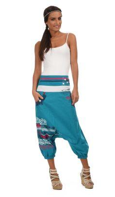 Pantalón pesquero corto algodón con diseño cintura bolsillos fantasía medias pantalón bombacho  solapa sobre 3 oro.