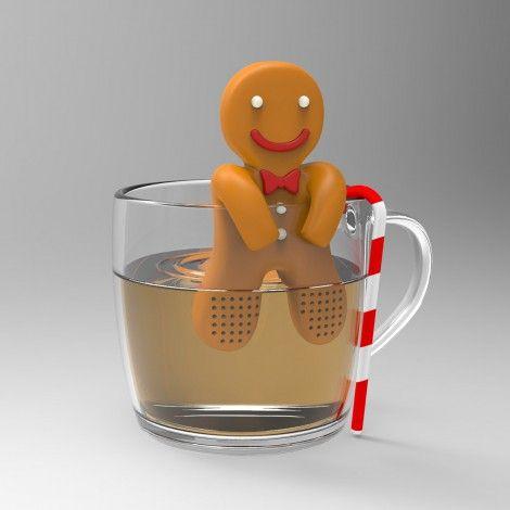 Un vraiment beau et chouette infuseur sur le thème du petit bonhomme en pain d'épices. Il s'accroche à votre tasse et diffusera lentement votre thé.