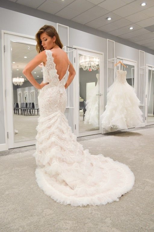 For the glamorous bride, a Beaded lace mermaid trumpet Galina Signature wedding dress available at David's Bridal | Book you bridal appointment at David's Bridal | Styled by Polished 4 Pennies