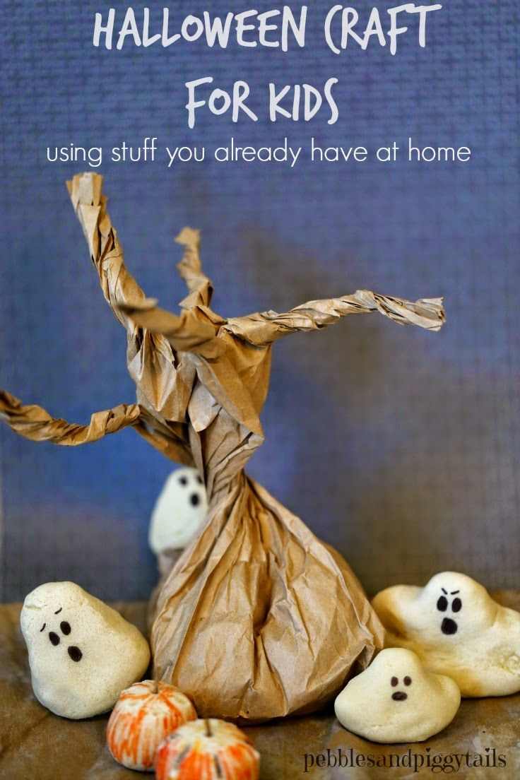 Salt Dough Ghosts and Paper Sack Tree Halloween and Fall Craft for Kids using what you have at home for Halloween Decor