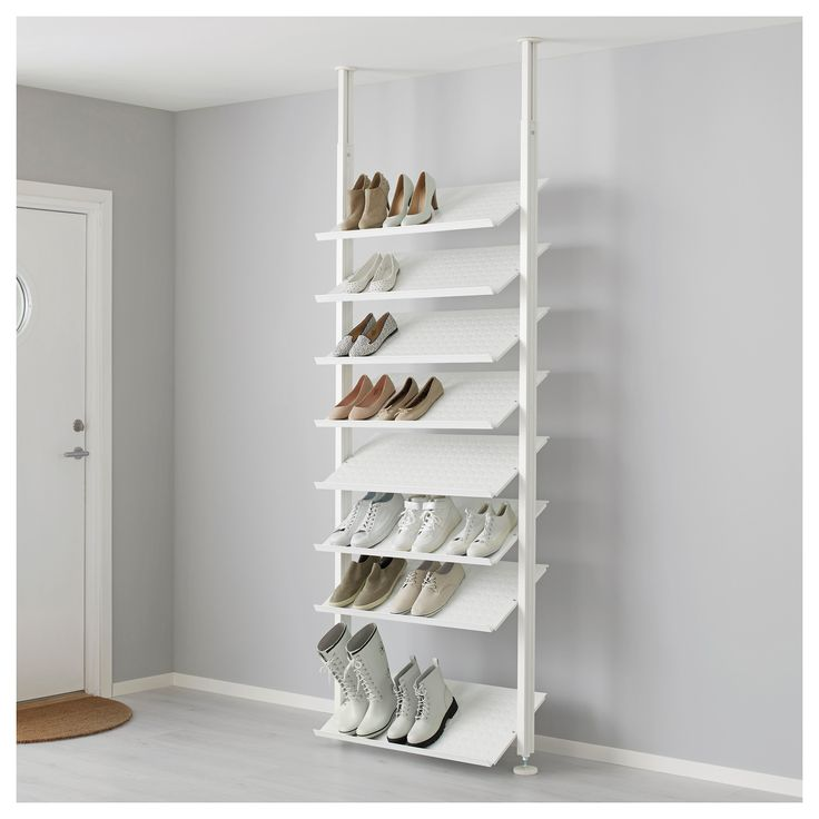 IKEA ELVARLI Shoe shelf White 80x36 cm Here there's room for everything, from dance shoes to boots. With the angled shoe shelves you'll quickly find your...