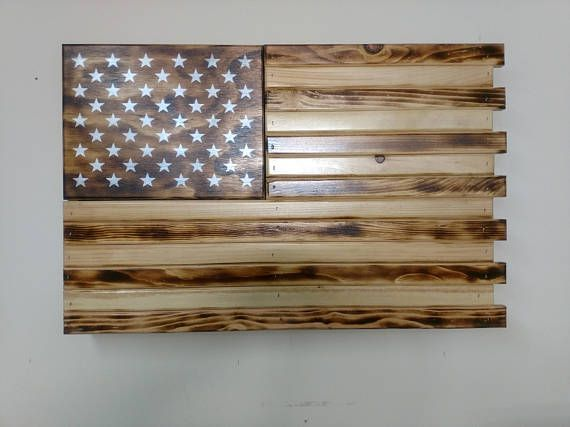 Hidden gun storage Charred Small American Flag