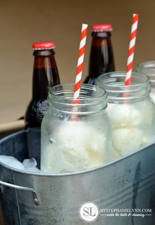 Root beer float bar~Here's a great idea for a summer party – a serve-yourself root beer float bar! Bottles of root beer and pre-scooped ice cream in mason jars, all kept chilled in an ice bucket. So simple, but sure to impress!