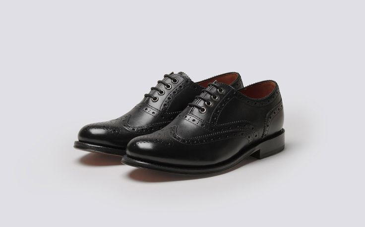 Womens Oxford Brogue in Black Calf Leather with a Leather Sole | Rose | Grenson Shoes - Three Quarter View