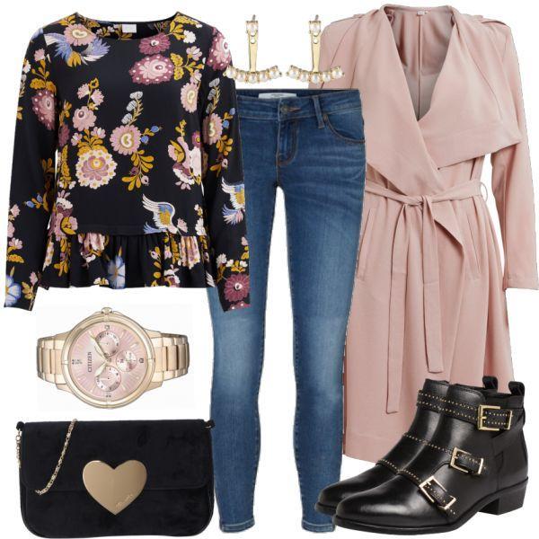 Dieses schöne und farblich perfekt aufeinander abgestimmte Damenoutfit ist im Kompletten ein echter Hingucker! Im Fokus steht die schöne Bluse mit Blumenprint. Dazu passen ein rosa Mantel von Object sowie eine Vero Moda Jeans mit Reißverschlüssen an den Knöcheln und Stiefeletten mit goldenen Details. Mit einer schwarzen Tamaris Clutch und einer Citizen Uhr mit rosa Ziffernblatt wird das Outfit abgerundet.