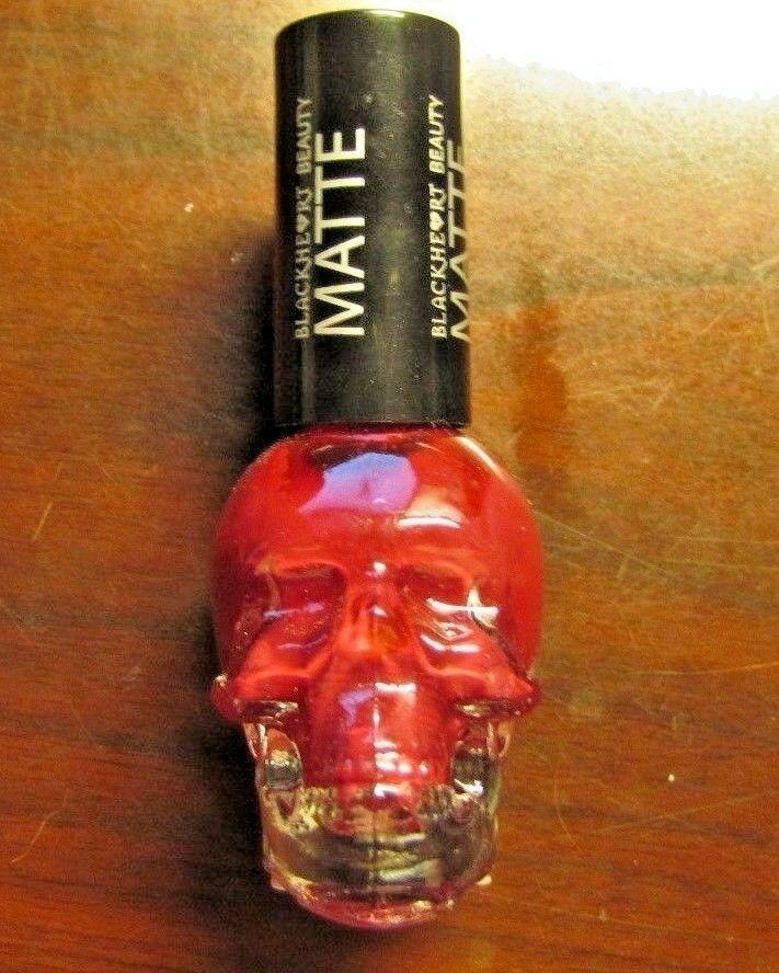 Skull shaped bottle. Nail Polish. MATTE RED. Black Heart Beauty. | eBay!