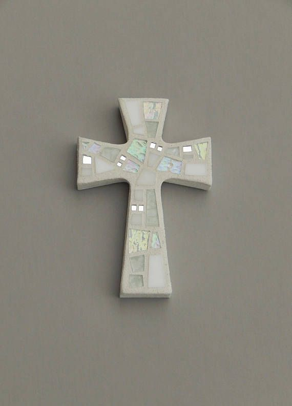 "Mosaic Wall Cross, Small, Shades of White + Iridescent Glass + Silver Mirror, Handmade Stained Glass Mosaic Cross Wall Decor, 6"" x 4"" by Dana Hess - The Green Banana Mosaic Company"