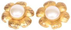 Orecchini CHANEL Camelia Dorato, bronzo, rame