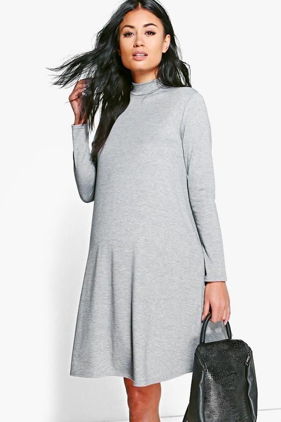 fa68179e6c61 Maternity High Neck Long Sleeve Swing Dress