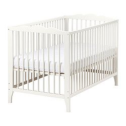 IKEA - HENSVIK, Crib, , The bed base can be placed at two different heights.Your baby will sleep both safely and comfortably as the durable materials in the crib base have been tested to ensure they give their body the support it needs.The crib base is well ventilated for good air circulation which gives your child a pleasant sleeping climate.One bed side can be removed when the child is able to safely climb into and out of the bed.