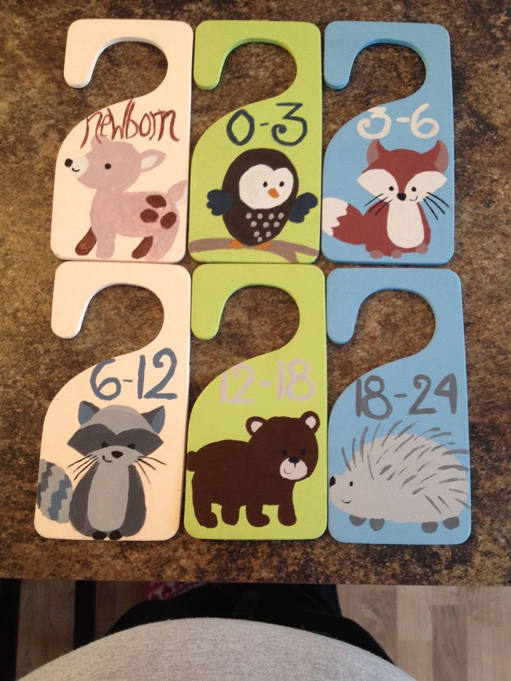 Closet organizers I painted to go with our Carter's Forest Friends nursery theme.