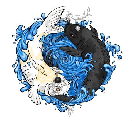 Koi fish yin and yang symbol i like the water idea but i for Koi fish yin yang tattoo