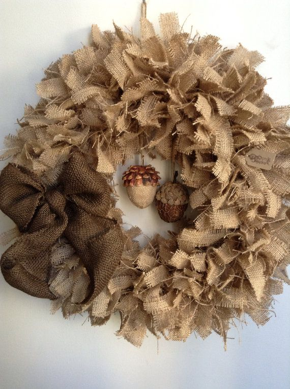 "Fall Burlap Wreath, LARGE 24"", (Ready To Ship)Acorn Wreath, Autumn Wreath, Thanksgiving Wreath, Rustic Burlap Wreath, Tan Wreath"