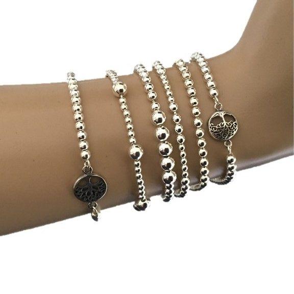 Zilveren tree of life levensboom balletjes armband - ZilverVoorJou Echt 925 zilveren sieraden