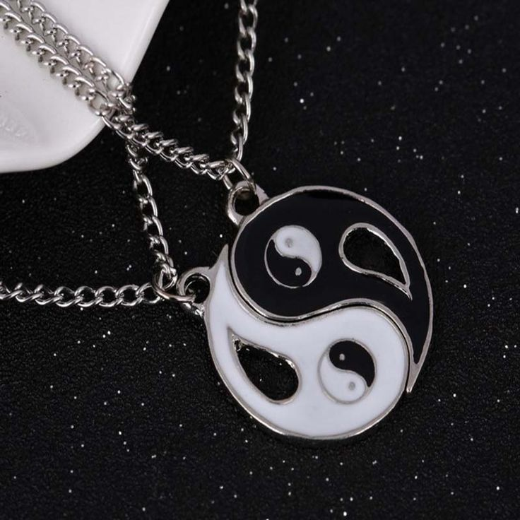 Fahion lover necklace Stitching necklace tai chi gossip yin and yang pendant couple necklace gift for men women 7892