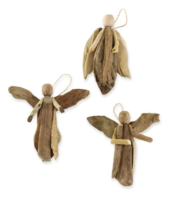 gifts-and-holidays-driftwood-Set Of 3 Rustic Driftwood Angel Decorations