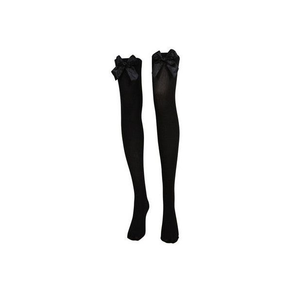 Black Hold Up Stockings With Black Bow - Tights - desireclothing.co.uk ($7.84) ❤ liked on Polyvore