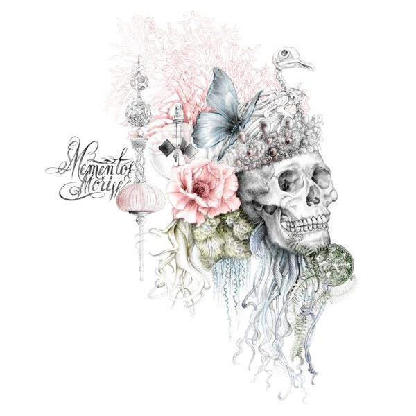 illustration tête de mort, memento mori, vanités, calligraphie Florence Gendre