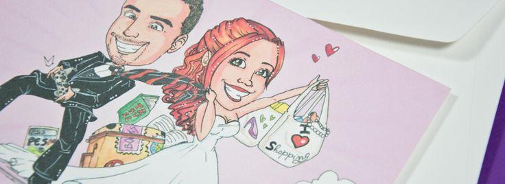 Una partecipazione con caricatura originale! Annuncia la data delle nozze attraverso la classica cartolina. Scopri di più!  #partecipazione @matrimonio #wedding #invite #caricature #caricaturista