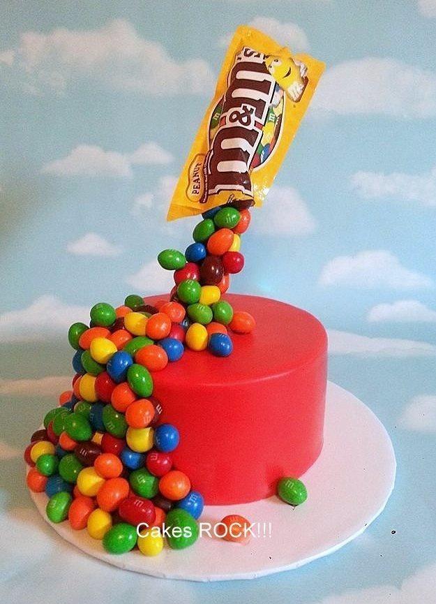 Gravity defying M&Ms cake