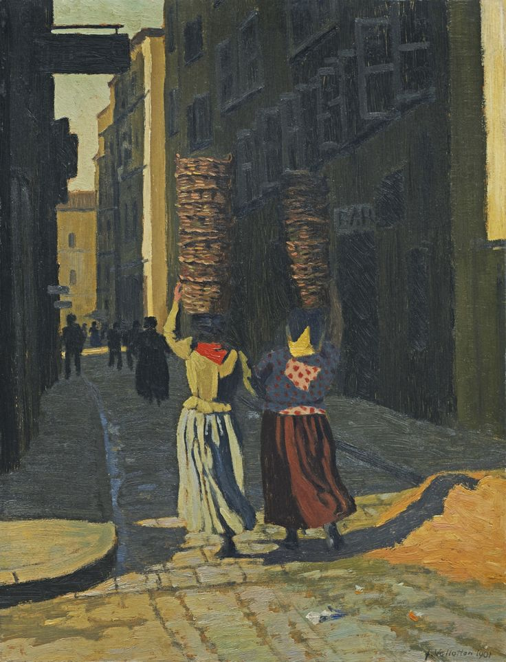 félix vallotton(1865-1925), femmes portant des corbeilles à marseille, 1901. öl auf karton, 67.5 x 51.5 cm. sotheby's art auctions and private sales