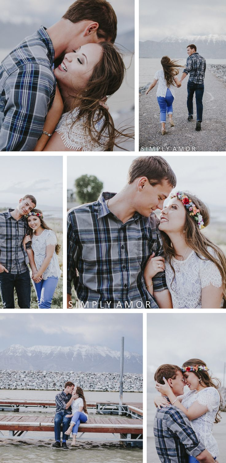 Engagement photo posing ideas. | Windblown engagement photo inspiration and ideas. Engagement session at Pelican Bay, Utah. Windblown, lake views, and snow-capped mountains in the backdrop. Simply Amor Photography