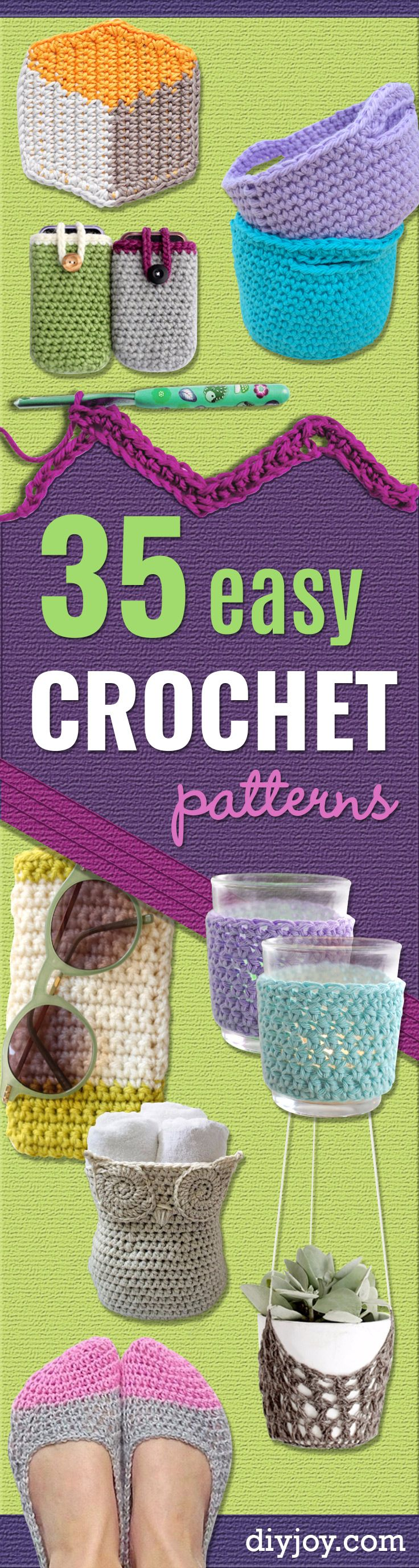 35 Easy Crochet Patterns - Creative Step by Step Crocheted Crafts Make Cool DIY Gifts for Friends and Family - Crochet Patterns For Beginners, Quick And Easy Crochet Patterns, Crochet Ideas To Try, Crochet Ideas To Make And Sell, Easy Crochet Ideas http://diyjoy.com/easy-crochet-patterns
