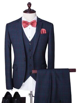 #SlimFit Schnitt #Herren ein knopf 3-Teilig #Anzug #Kariert #Design mit #Weste und #Fliege   4  Ärmelknöpfe ,leicht #taillierter #Einreiher mit ein Knopf und einfachem Geschlitzt.  #Lässiger und #modischer als jedes Stoff-#Sakko. Die Farben und die Muster heben sich gut heraus. diese Qualitativ sehr #hochwertig, #robust und aus feinsten Materialien (weich und geschmeidig).  Dieser Anzug ist die #perfekte Wahl, wenn große #Abendgarderobe verlangt ist.
