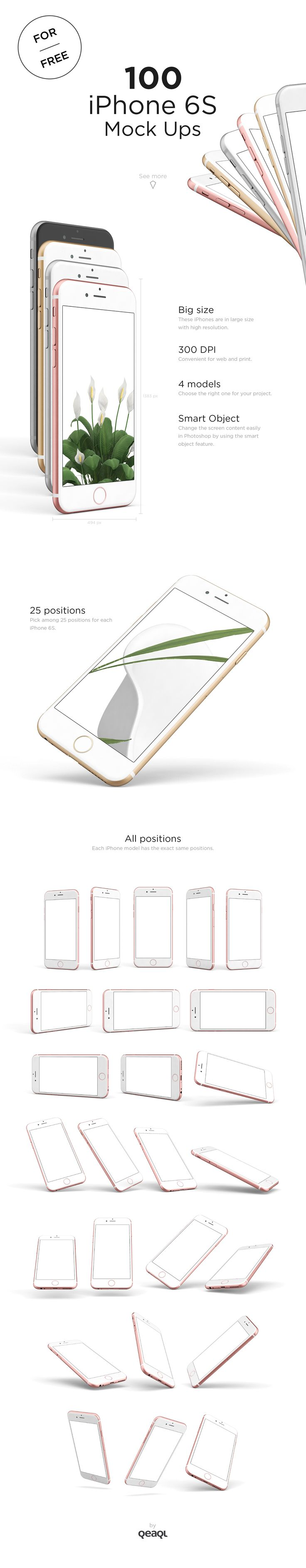 FREE - 100 iPhone 6s Mock Ups on Behance