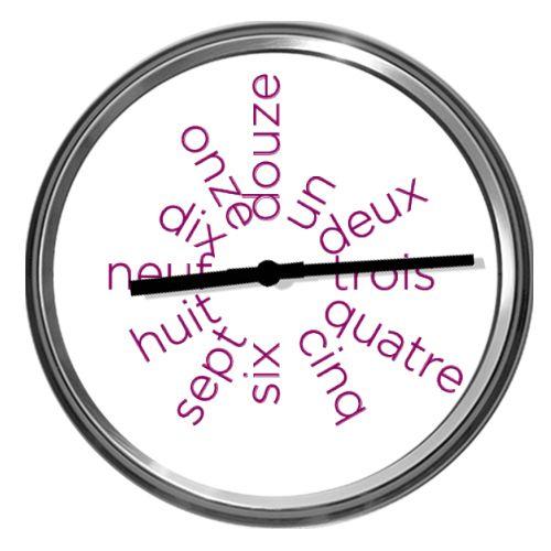 Parlez-vous francais? Ceas personalizat, ale carui ore sunt scrise in franceza: un, deux, trois, quatre, cinq, six, sept, huit, neuf, dix, onze si douze.