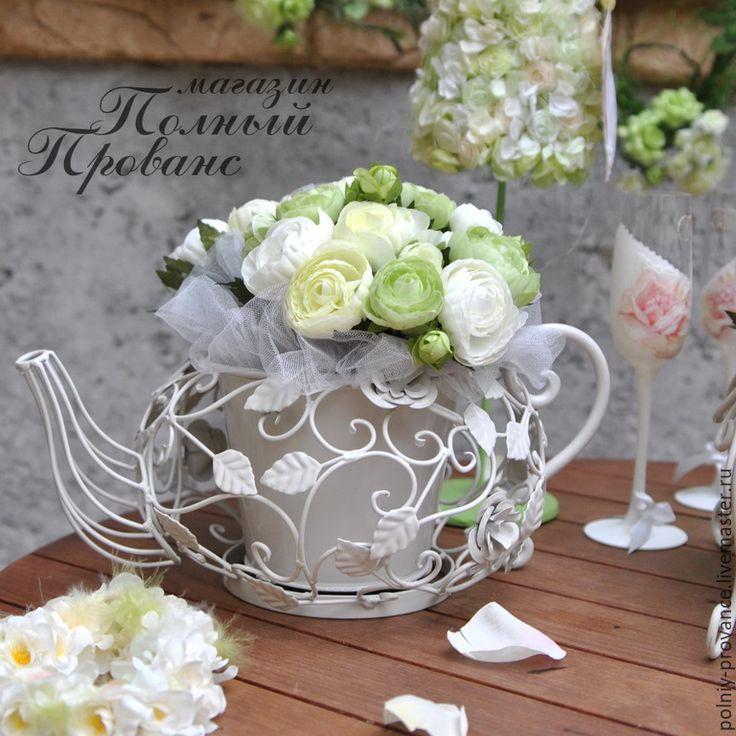 Купить Кашпо Чайник 28369 белое - белый, кашпо для цветов, кашпо, чайник, флористика