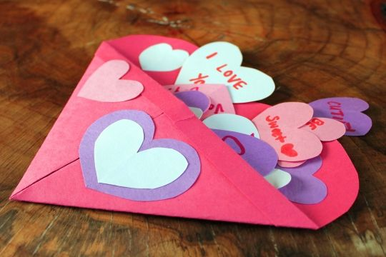Construction paper heart envelope