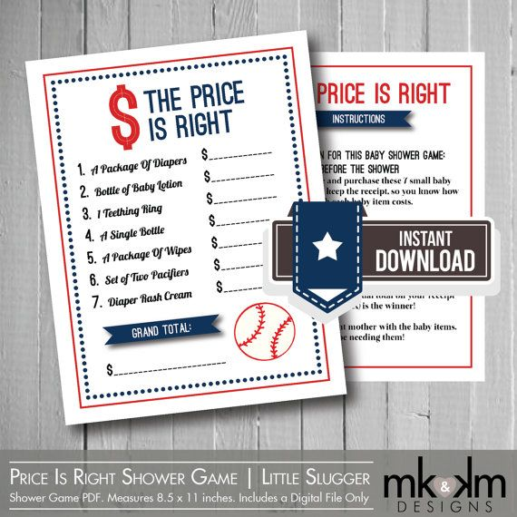 the price is right baby shower game baby shower price is right baseball theme
