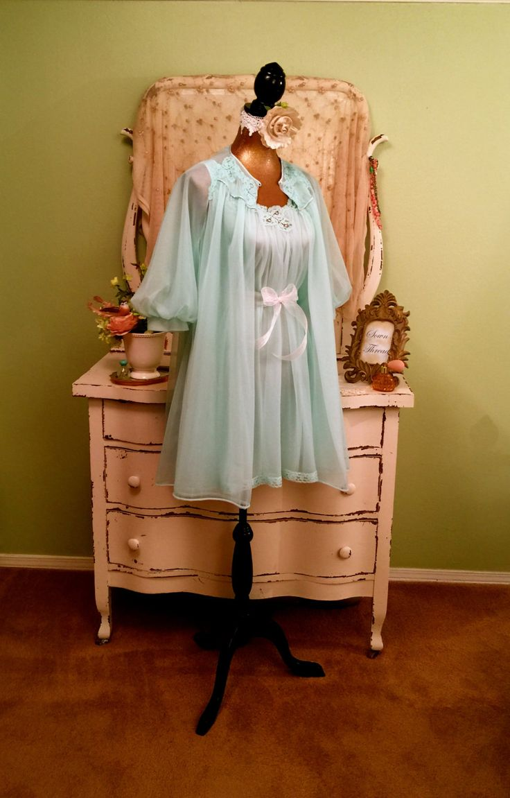 Mint Cupcake Nightie Set, Princess Baby Doll, Chic Shabby Lingerie, Vintage Nightgown Set, Pin Up Lingerie, Wedding Bridal Peignoir, Sz S/M by SownThreadsClothing on Etsy