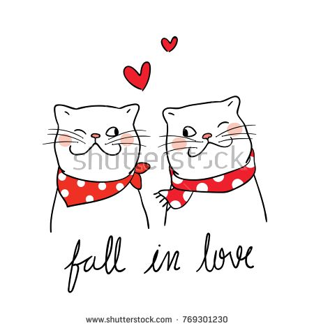 Vector illustration character design couple cat fall in love and little heart for valentine day.Doodle cartoon style.