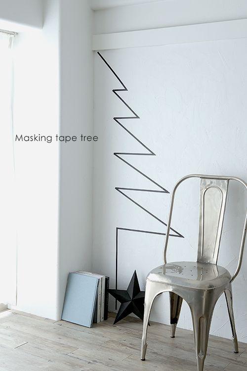 ★簡単♪マスキングテープ貼るだけでクリスマスツリー |インテリアと暮らしのヒント