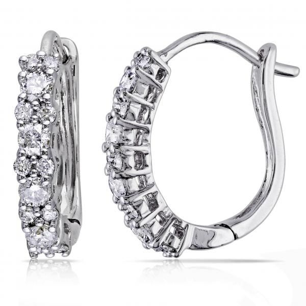 Diamond Huggies, Hoop Earrings for Women 14k White Gold 0.50ct - Allurez.com