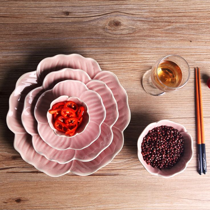 5 шт./компл. Розовый лепесток пластины блюда корзина с фруктами салатник закуски поднос еды тарелки наборы посуды купить на AliExpress