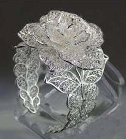 "Cuff | ""Charm Blooming Rose"".  Miao Silver Bracelet"