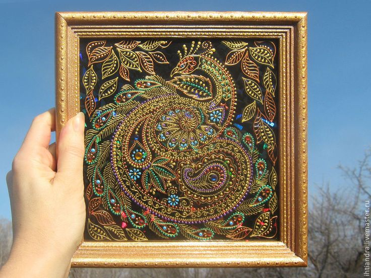 Купить Птица счастья Роспись по стеклу - украшение интерьера, эксклюзивный подарок, подарок на любой случай