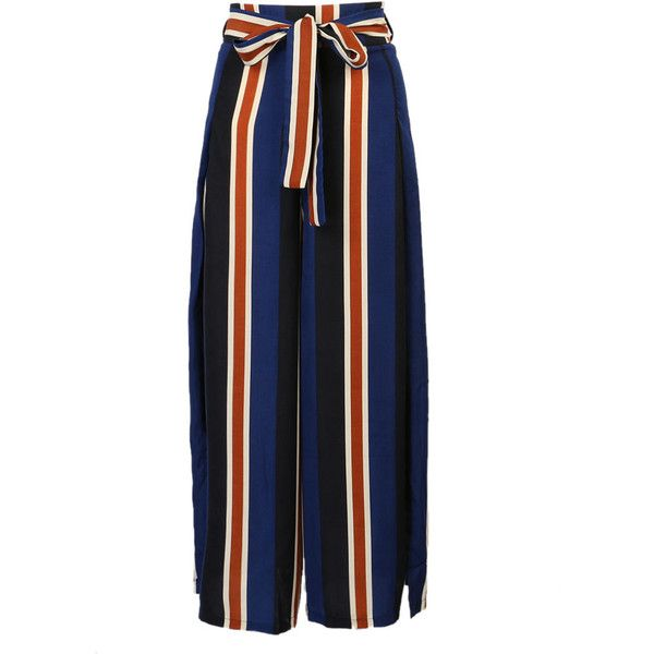 Blue Stripe Tie Waist Side Split Wide Leg Palazzo Pants ($25) ❤ liked on Polyvore featuring pants, patterned pants, zipper pants, palazzo pants, striped pants and striped palazzo pants