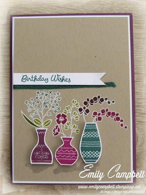 Stampin Up Varied Vases samples by Emily. Tiny Kiwi Cards ...